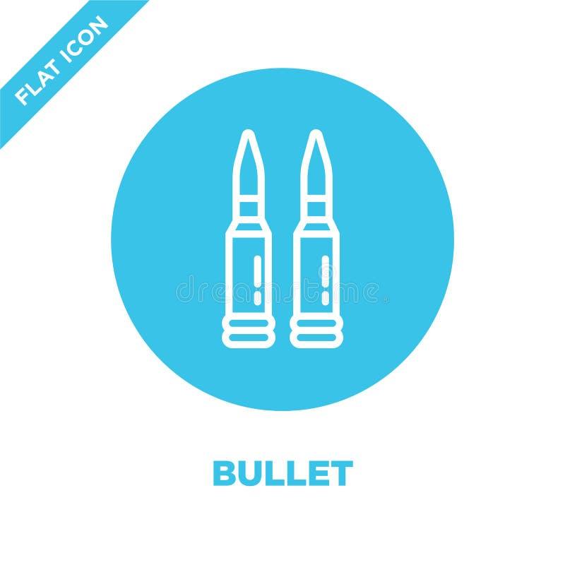 vector del icono de la bala de la colección militar Línea fina ejemplo del vector del icono del esquema de la bala Símbolo linear libre illustration