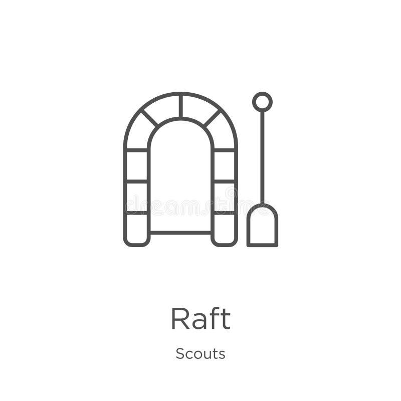 vector del icono de la balsa de la colección de los exploradores Línea fina ejemplo del vector del icono del esquema de la balsa  stock de ilustración