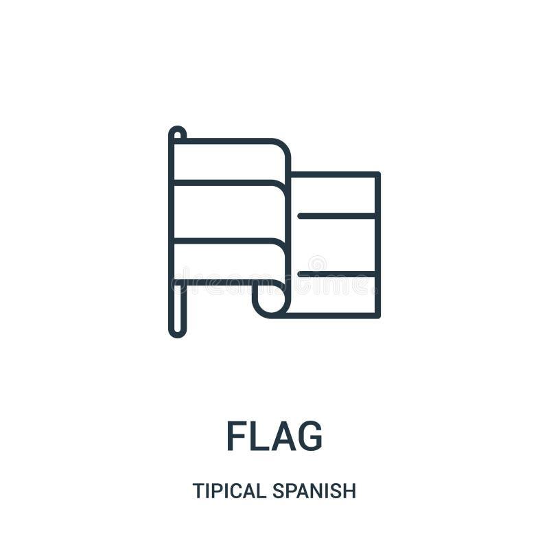 vector del icono de la bandera de la colección española tipical Línea fina ejemplo del vector del icono del esquema de la bandera ilustración del vector