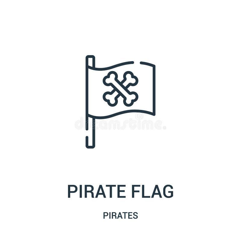 vector del icono de la bandera de pirata de la colección de los piratas Línea fina ejemplo del vector del icono del esquema de la libre illustration