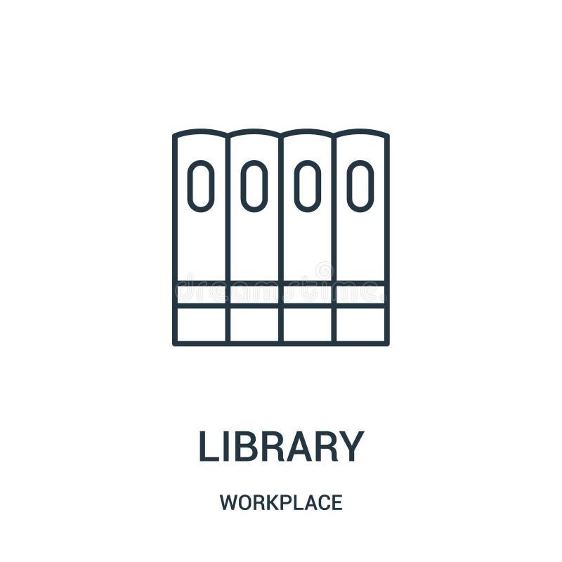 vector del icono de la biblioteca de la colección del lugar de trabajo Línea fina ejemplo del vector del icono del esquema de la  libre illustration