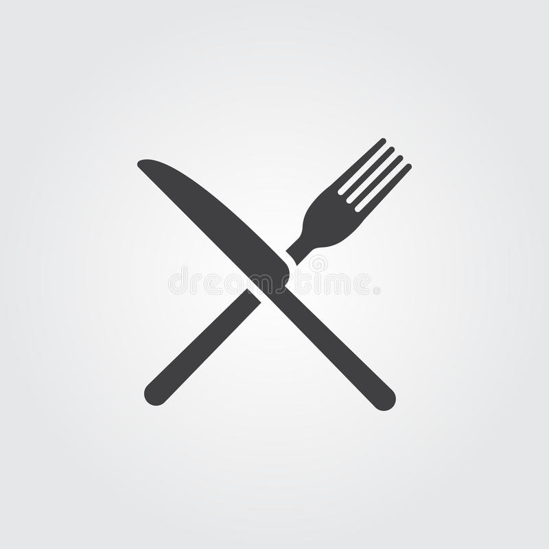 Vector del icono de la bifurcación y del cuchillo aislado en fondo gris stock de ilustración