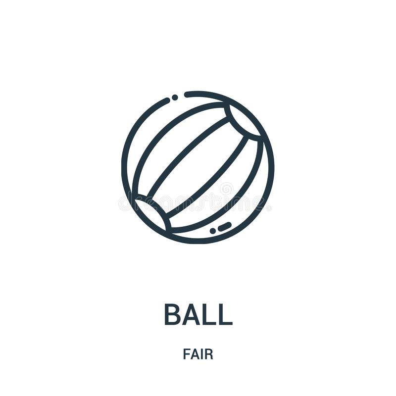 vector del icono de la bola de la colección justa Línea fina ejemplo del vector del icono del esquema de la bola Símbolo linear p stock de ilustración