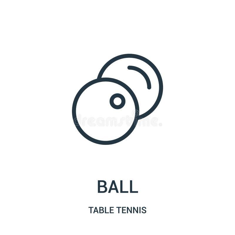 vector del icono de la bola de la colección de los tenis de mesa Línea fina ejemplo del vector del icono del esquema de la bola S libre illustration