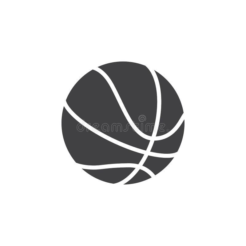 Vector del icono de la bola del baloncesto, muestra plana llenada, pictograma sólido aislado en blanco ilustración del vector