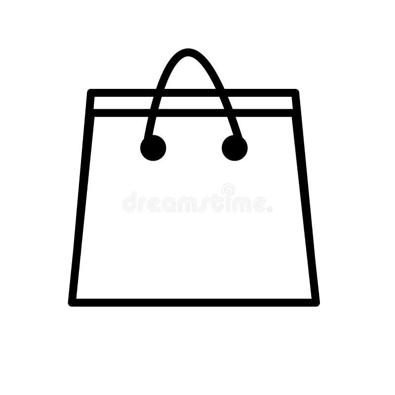 Vector del icono de la bolsa de papel aislado en la muestra blanca del fondo, de la bolsa de papel, la línea o la muestra linear, libre illustration
