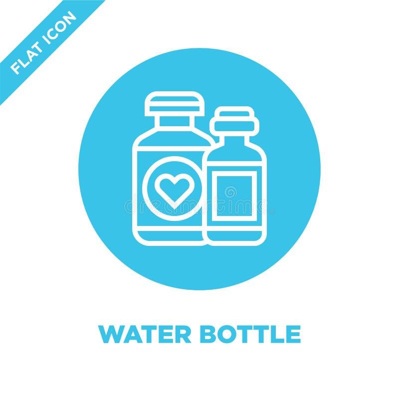 vector del icono de la botella de agua de la colección de los elementos de la caridad Línea fina ejemplo del vector del icono del libre illustration
