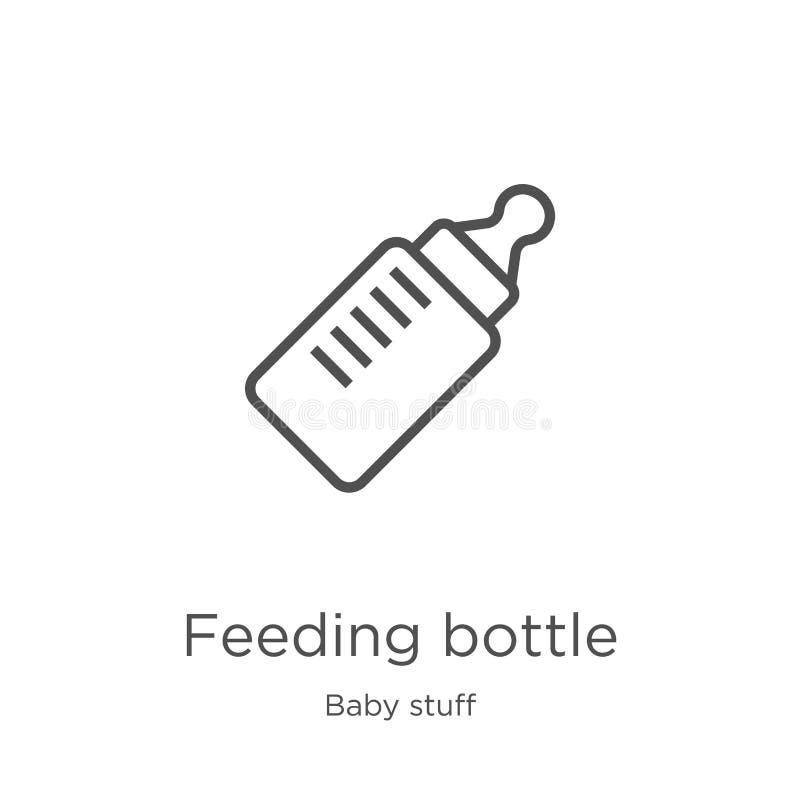 vector del icono de la botella de alimentación de la colección de la materia del bebé Línea fina ejemplo del vector del icono del ilustración del vector