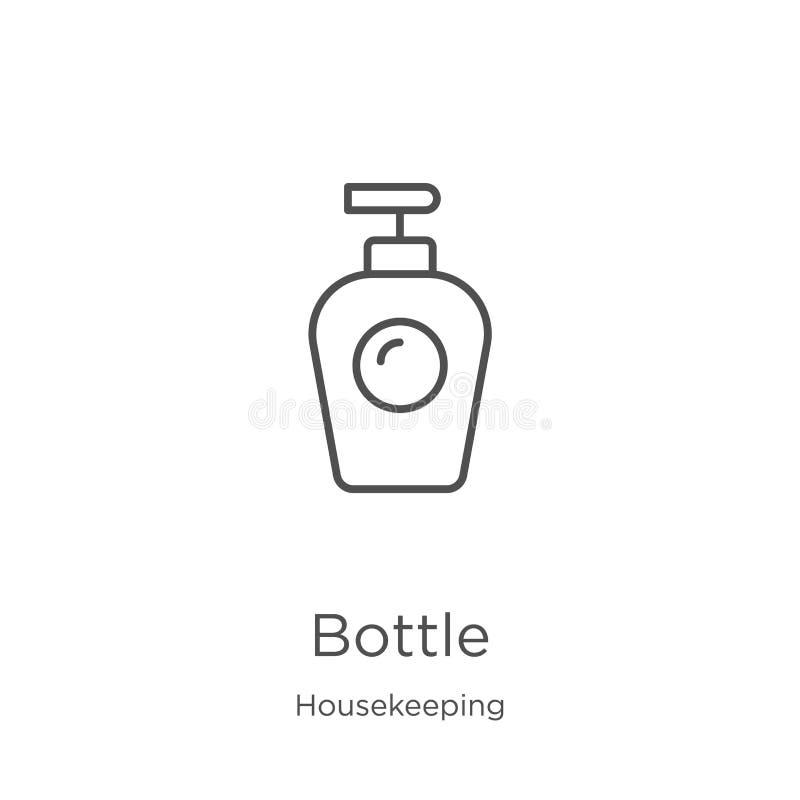 vector del icono de la botella de la colección de la economía doméstica Línea fina ejemplo del vector del icono del esquema de la stock de ilustración