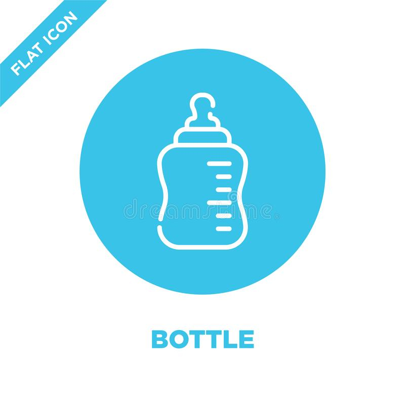 vector del icono de la botella de la colección de los juguetes del bebé Línea fina ejemplo del vector del icono del esquema de la stock de ilustración
