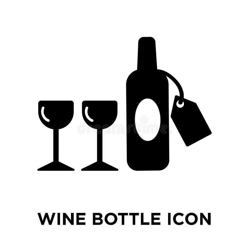 Vector del icono de la botella de vino aislado en el fondo blanco, conce del logotipo ilustración del vector