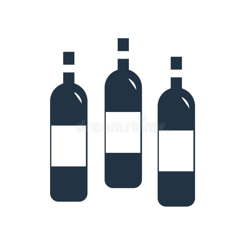 Vector del icono de la botella de vino aislado en el fondo blanco, muestra de la botella de vino stock de ilustración