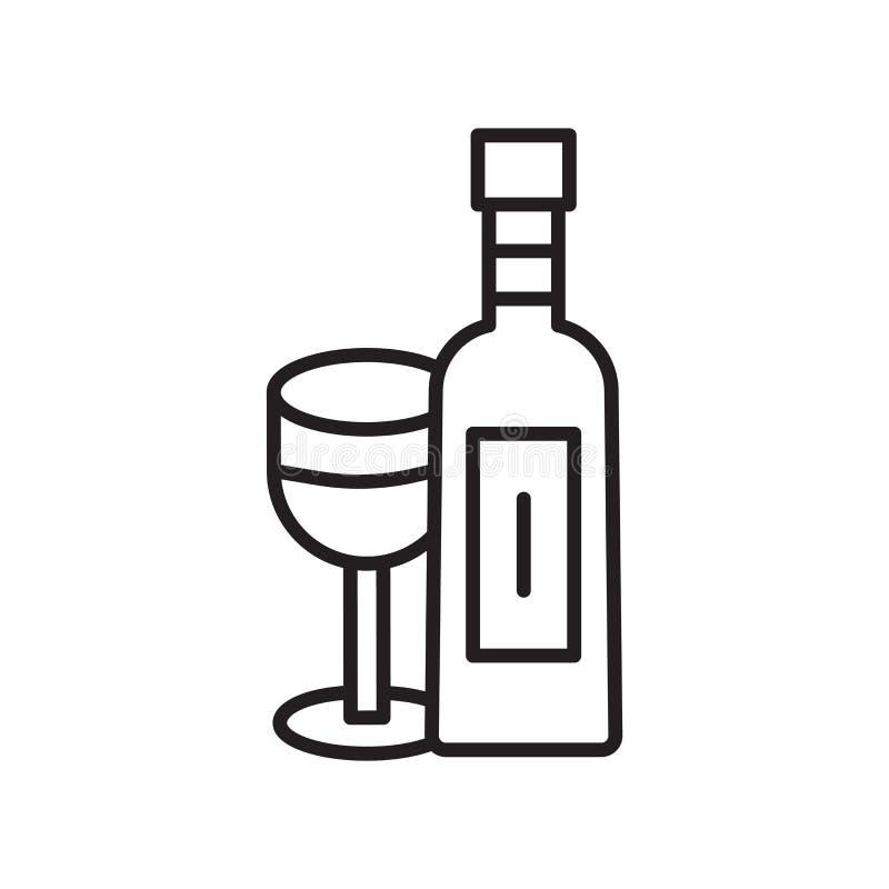 Vector del icono de la botella de vino aislado en el fondo blanco, muestra de la botella de vino, línea fina elementos del diseño libre illustration