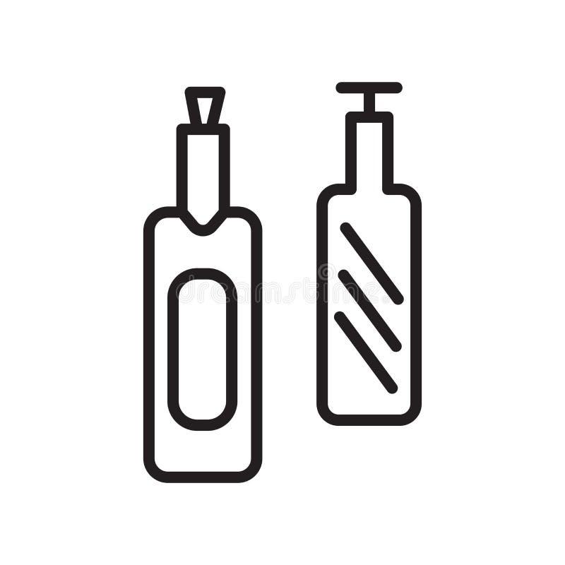 Vector del icono de la botella de vino aislado en la muestra blanca del fondo, de la botella de vino, el símbolo linear y element stock de ilustración