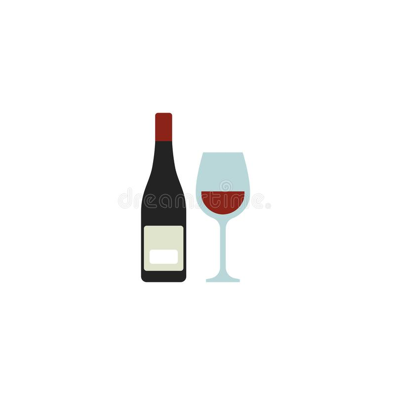 Vector del icono de la botella y de la copa de vino de vino, símbolo o logotipo plano libre illustration