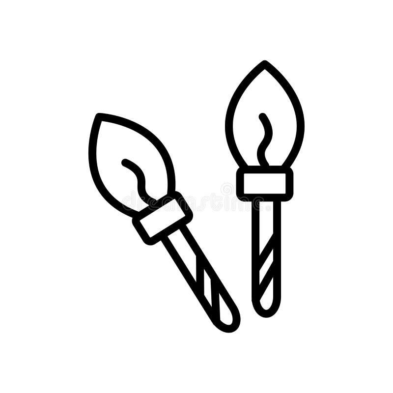 Vector del icono de la brocha aislado en el fondo, la muestra de la brocha, la línea y los elementos blancos del esquema en estil ilustración del vector