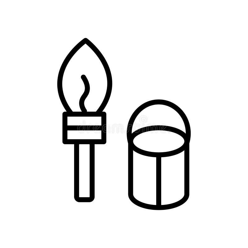 Vector del icono de la brocha aislado en el fondo, la muestra de la brocha, la línea y los elementos blancos del esquema en estil libre illustration