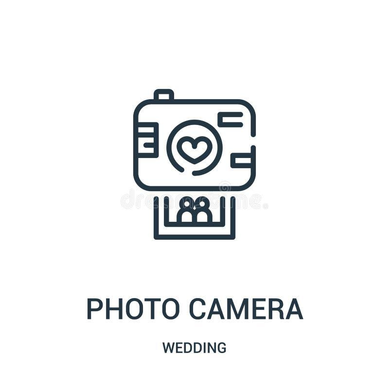 vector del icono de la cámara de la foto de casarse la colección Línea fina ejemplo del vector del icono del esquema de la cámara stock de ilustración