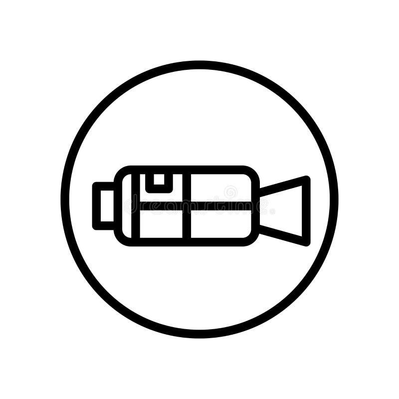 Vector del icono de la cámara de vídeo aislado en el fondo blanco, la muestra de la cámara de vídeo, la línea y elementos del esq stock de ilustración