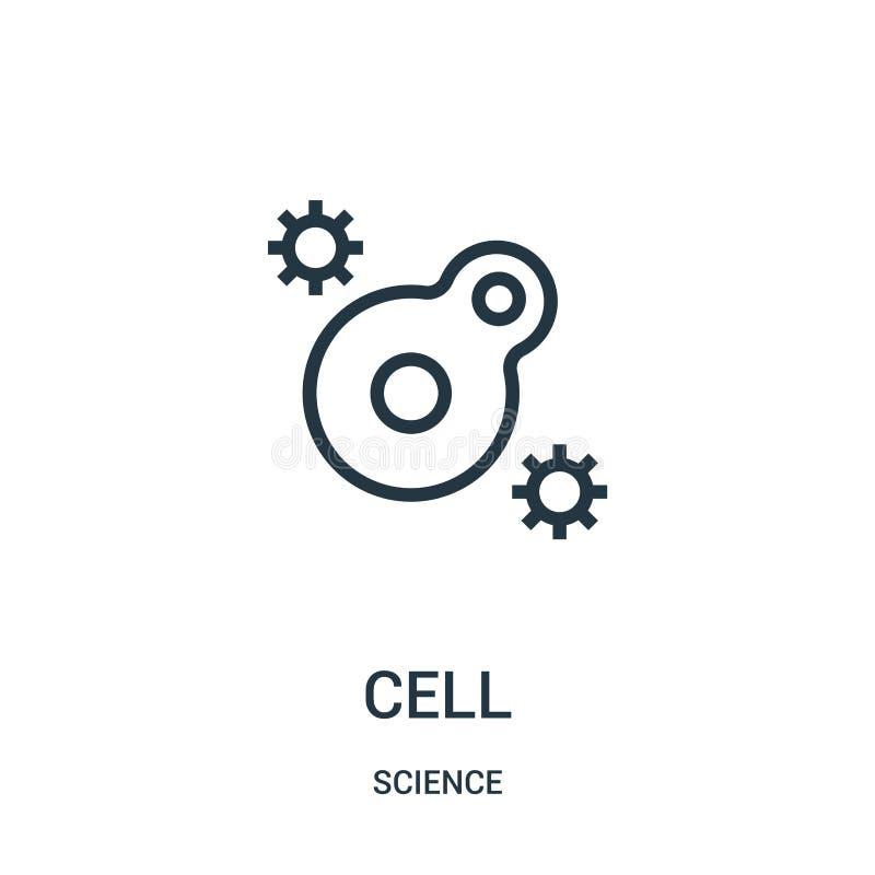 vector del icono de la célula de la colección de la ciencia Línea fina ejemplo del vector del icono del esquema de la célula Símb ilustración del vector