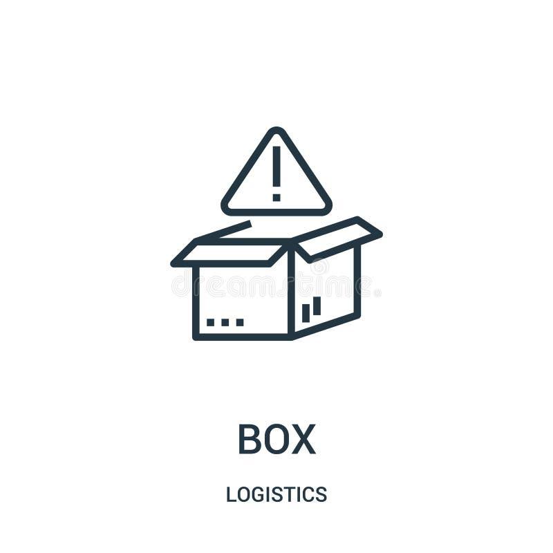 vector del icono de la caja de la colección de la logística Línea fina ejemplo del vector del icono del esquema de la caja Símbol ilustración del vector