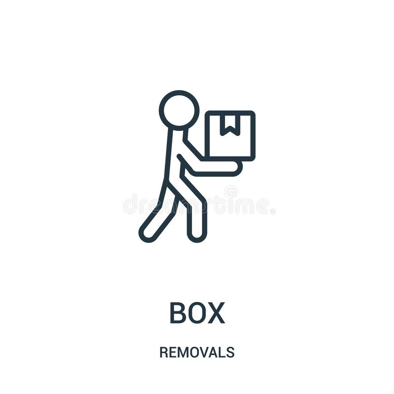 vector del icono de la caja de la colección de los retiros Línea fina ejemplo del vector del icono del esquema de la caja Símbolo libre illustration