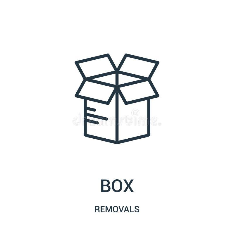 vector del icono de la caja de la colección de los retiros Línea fina ejemplo del vector del icono del esquema de la caja Símbolo ilustración del vector