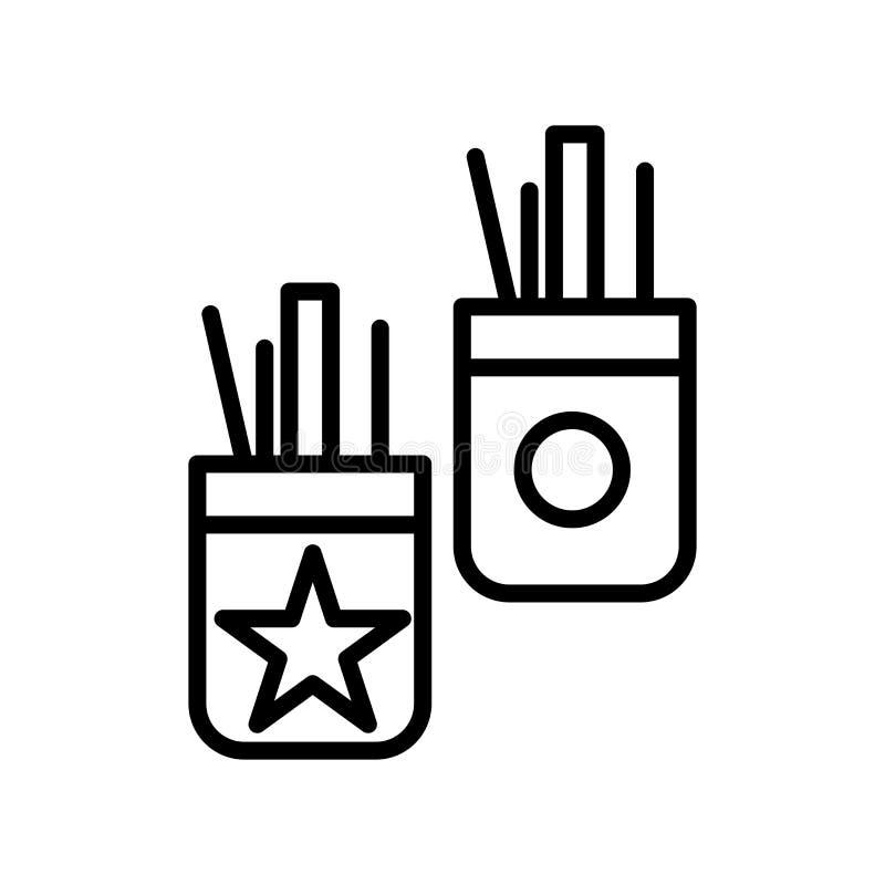 Vector del icono de la caja de lápiz aislado en la muestra blanca del fondo, de la caja de lápiz, la línea y elementos del esquem stock de ilustración