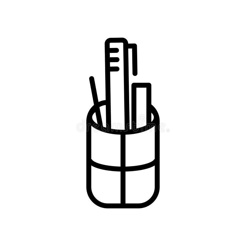 Vector del icono de la caja de lápiz aislado en la muestra blanca del fondo, de la caja de lápiz, la línea y elementos del esquem libre illustration