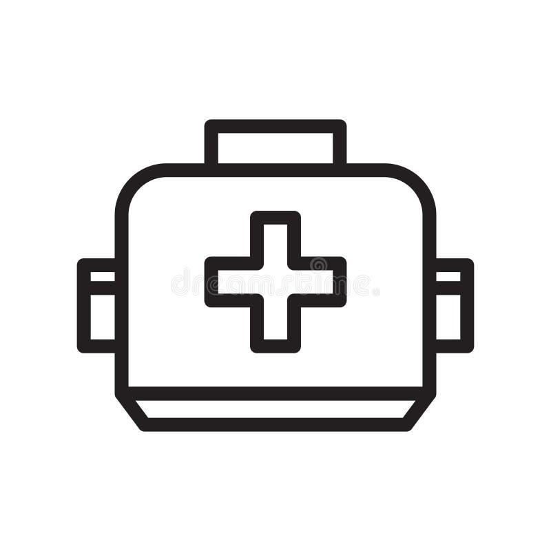 Vector del icono de la caja de los primeros auxilios aislado en el fondo blanco, la muestra de la caja de los primeros auxilios,  stock de ilustración