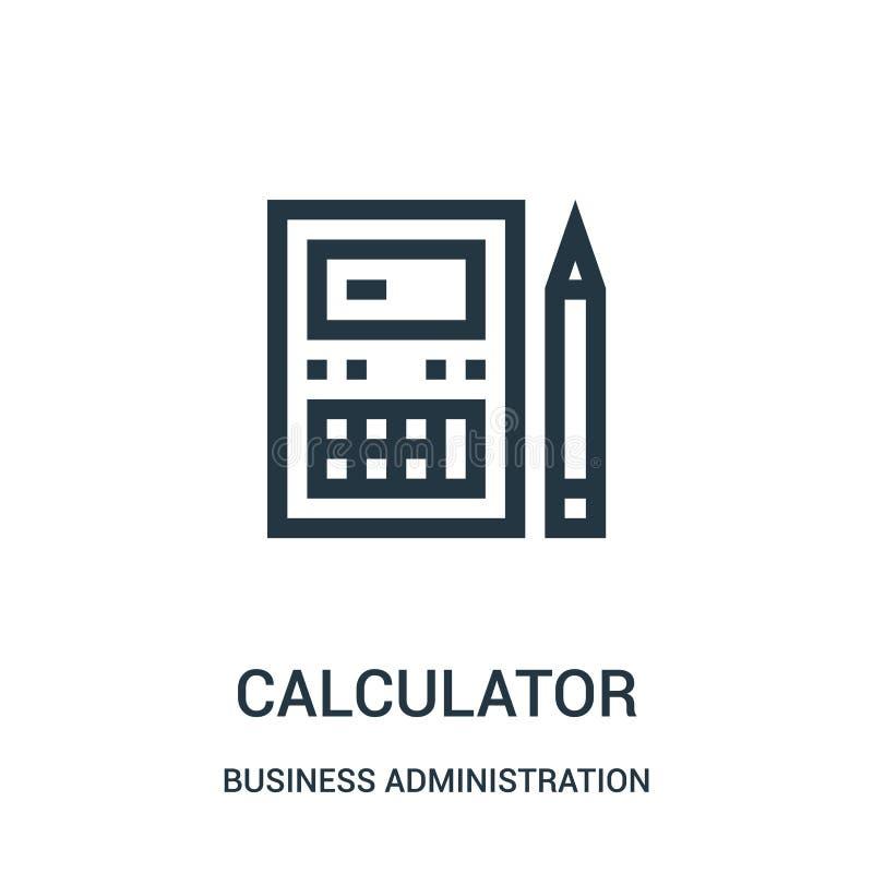 vector del icono de la calculadora de la colección de la administración de empresas Línea fina ejemplo del vector del icono del e stock de ilustración