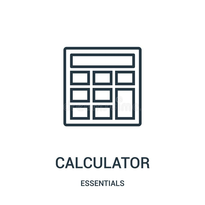 vector del icono de la calculadora de la colección del esencial Línea fina ejemplo del vector del icono del esquema de la calcula ilustración del vector