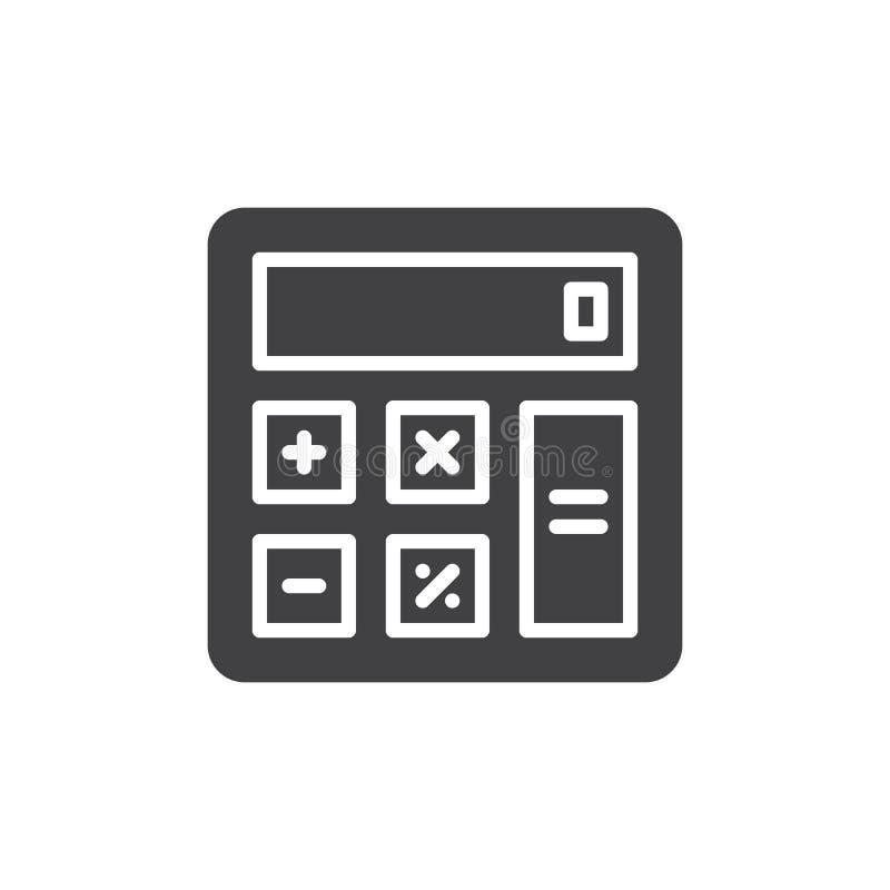 Vector del icono de la calculadora, muestra plana llenada, pictograma sólido aislado en blanco stock de ilustración