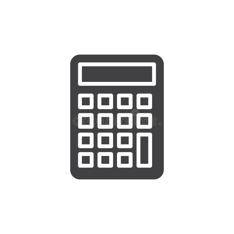 Vector del icono de la calculadora, muestra plana llenada, pictograma sólido aislado en blanco ilustración del vector