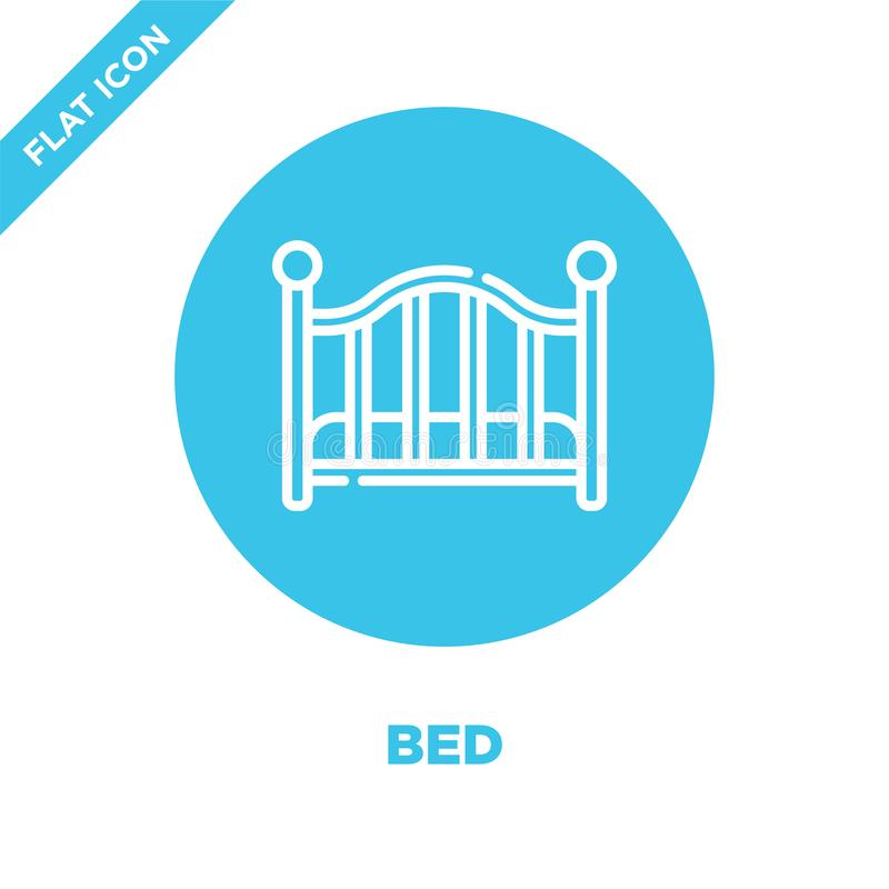 vector del icono de la cama de la colección de los juguetes del bebé Línea fina ejemplo del vector del icono del esquema de la ca stock de ilustración