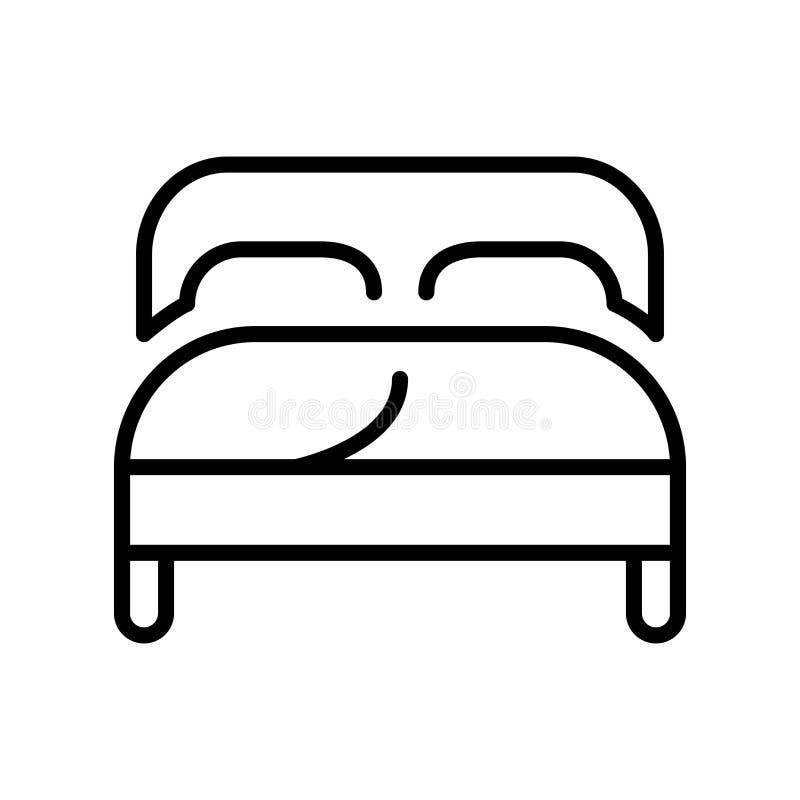 Vector del icono de la cama matrimonial aislado en el fondo blanco, la muestra de la cama matrimonial, la línea y elementos del e stock de ilustración