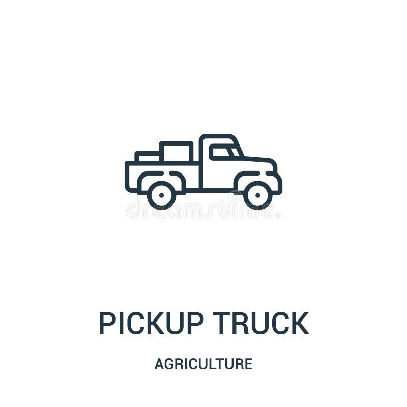vector del icono de la camioneta pickup de la colección de la agricultura Línea fina ejemplo del vector del icono del esquema de  ilustración del vector