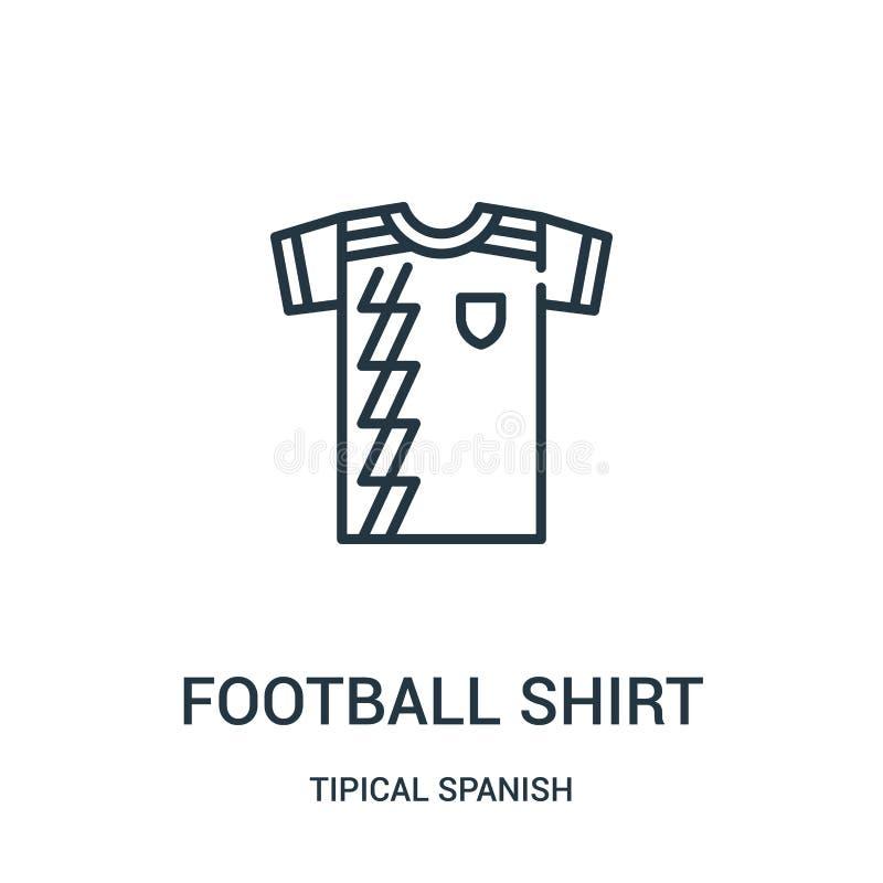vector del icono de la camisa del fútbol de la colección española tipical Línea fina ejemplo del vector del icono del esquema de  stock de ilustración