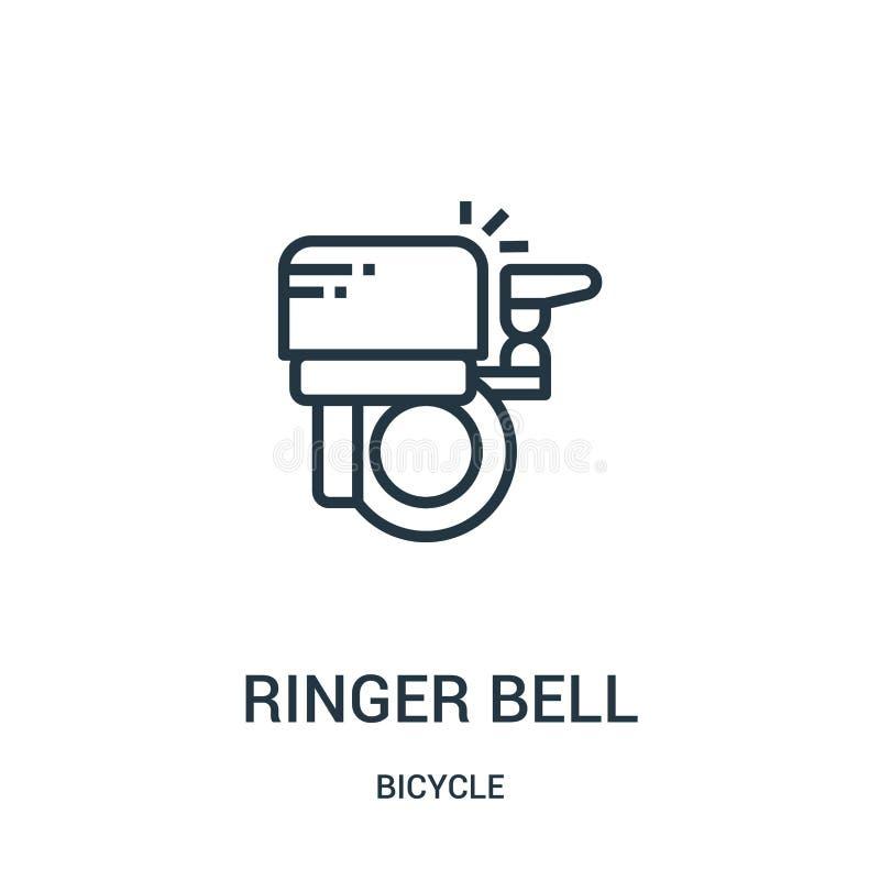 vector del icono de la campana del campanero de la colección de la bicicleta Línea fina ejemplo del vector del icono del esquema  libre illustration