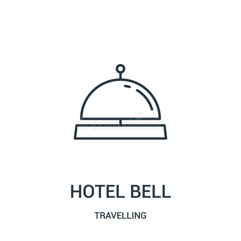 vector del icono de la campana del hotel de la colección que viaja Línea fina ejemplo del vector del icono del esquema de la camp libre illustration