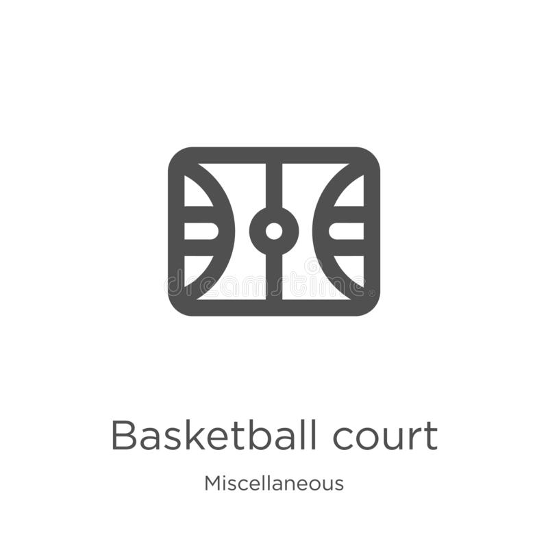 vector del icono de la cancha de básquet de la colección diversa Línea fina ejemplo del vector del icono del esquema de la cancha ilustración del vector