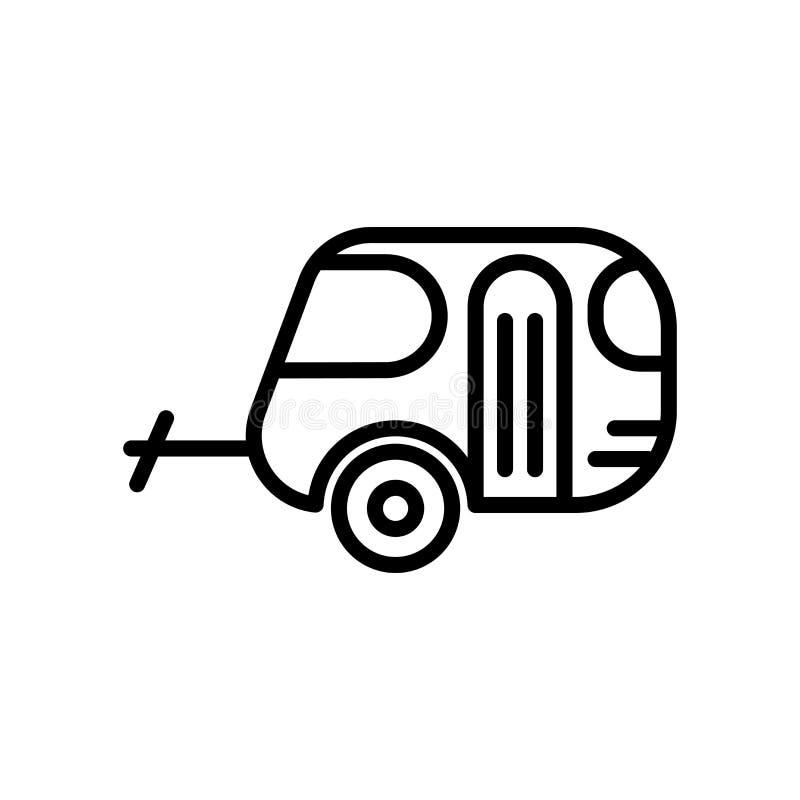 Vector del icono de la caravana aislado en el fondo, la muestra de la caravana, la línea y los elementos blancos del esquema en e stock de ilustración