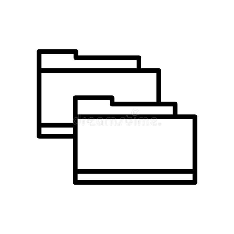 Vector del icono de la carpeta aislado en el fondo, la muestra de la carpeta, la línea y los elementos blancos del esquema en est stock de ilustración