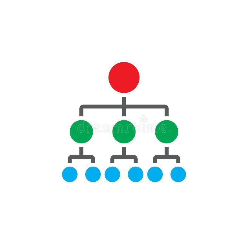 Vector del icono de la carta de organización, logotipo del sólido de la jerarquía ilustración del vector