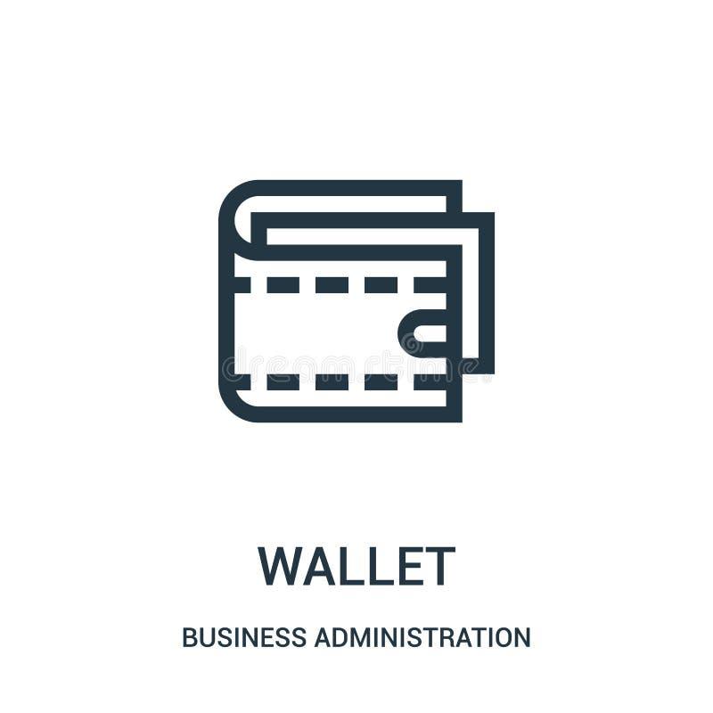 vector del icono de la cartera de la colección de la administración de empresas L?nea fina ejemplo del vector del icono del esque libre illustration
