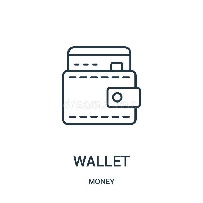 vector del icono de la cartera de la colección del dinero Línea fina ejemplo del vector del icono del esquema de la cartera libre illustration