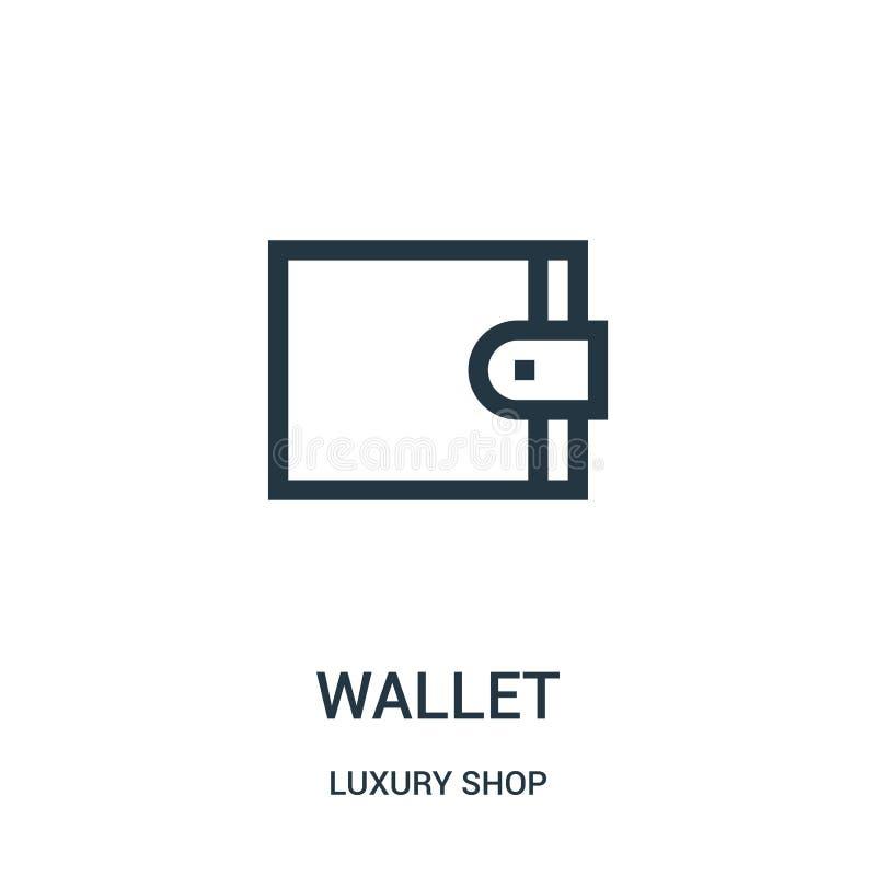 vector del icono de la cartera de la colección de lujo de la tienda Línea fina ejemplo del vector del icono del esquema de la car libre illustration
