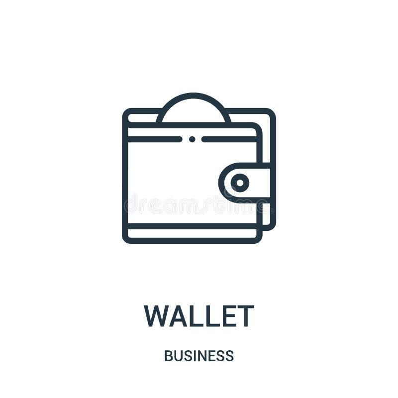 vector del icono de la cartera de la colección del negocio L?nea fina ejemplo del vector del icono del esquema de la cartera S?mb ilustración del vector