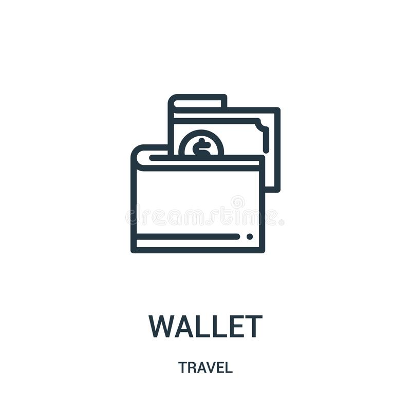 vector del icono de la cartera de la colección del viaje Línea fina ejemplo del vector del icono del esquema de la cartera Símbol stock de ilustración
