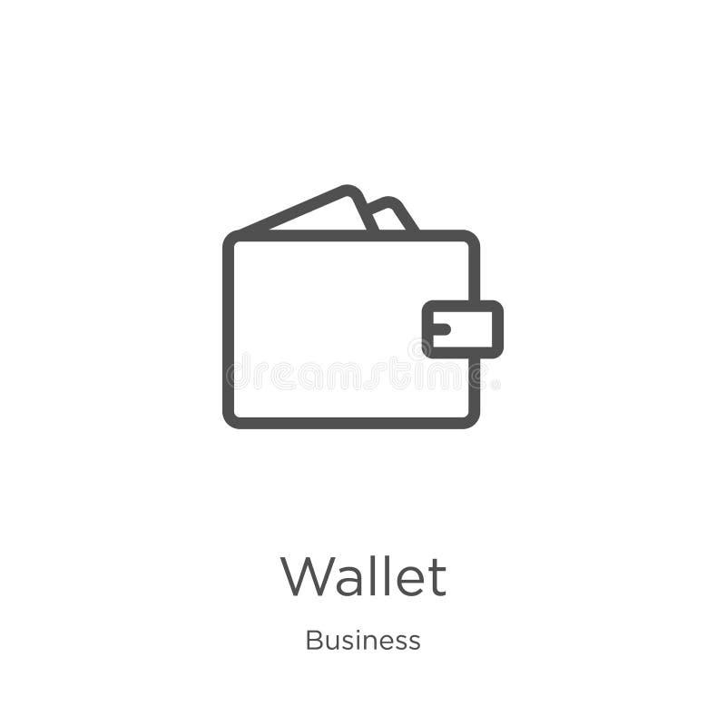 vector del icono de la cartera de la colecci?n del negocio L?nea fina ejemplo del vector del icono del esquema de la cartera Esqu ilustración del vector